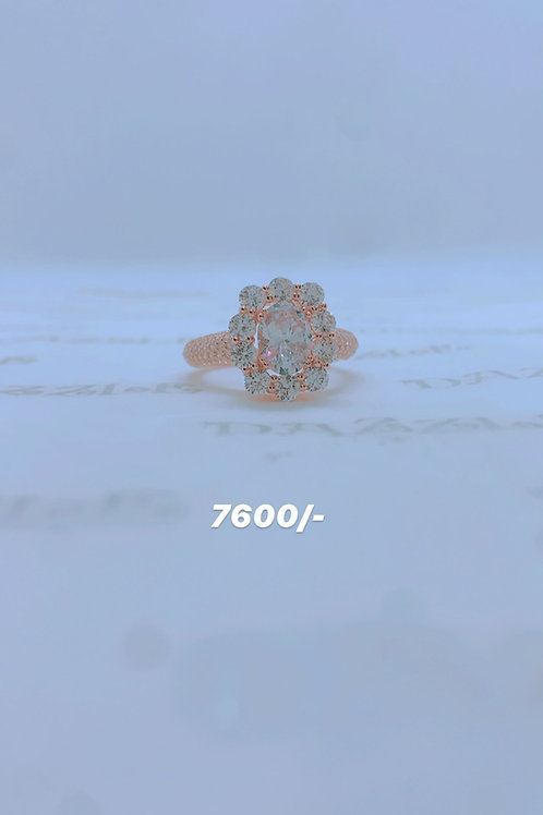Rosegold plated silver fancy flower ring