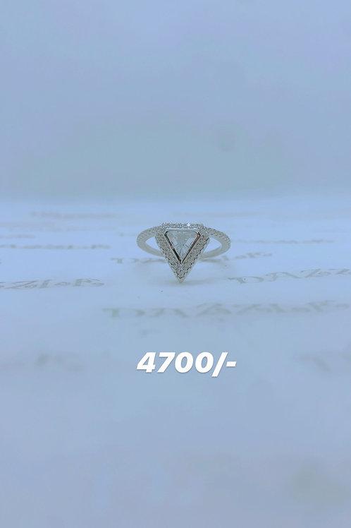 Triangular shaped silver fancy ring