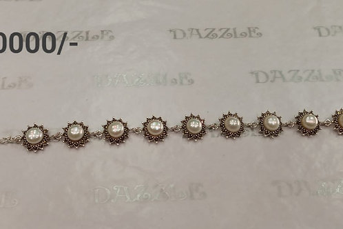 Silver Marcasite bracelet with pearls