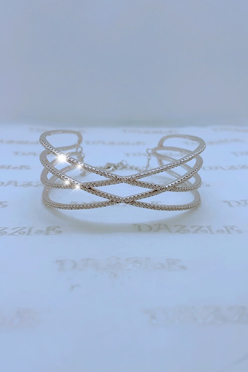 Silver fancy bangle with cubic zirconia