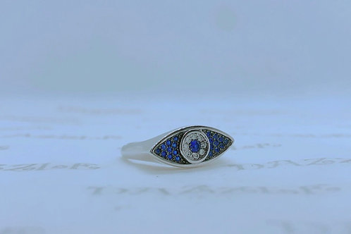 Silver evil eye ring