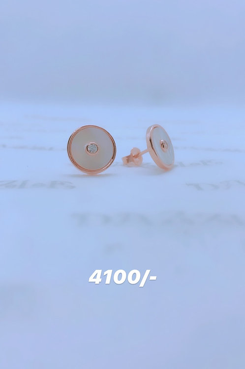 Simple silver earrings with rosegold plating