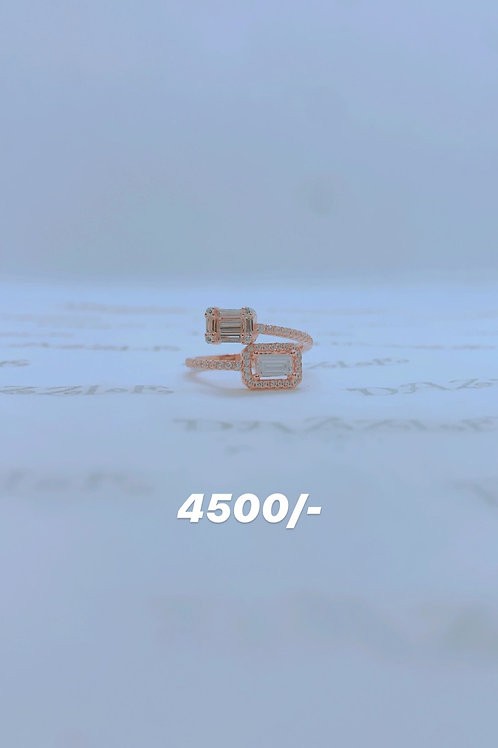 Silver fancy ring with rosegold plating