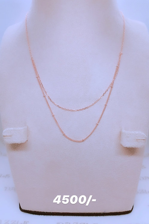 Silver double chain necklace with rosegold plating