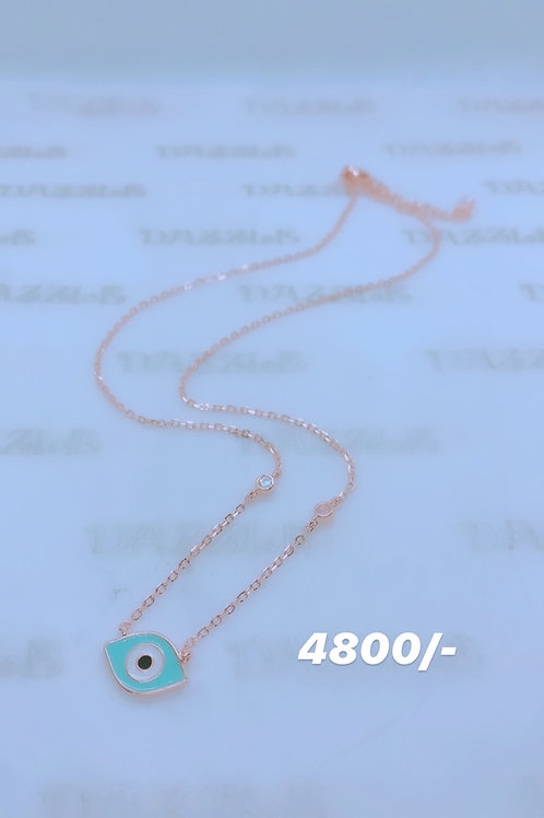 Silver evil eye necklace with rosegold plating