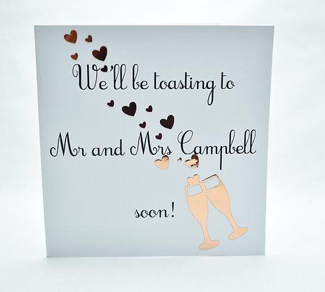 Personalised wedding postponement card