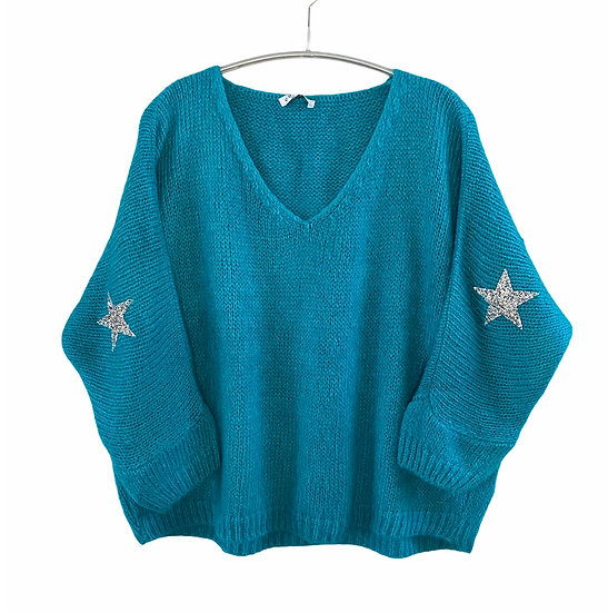 Turquoise Mohair Mix Star Jumper