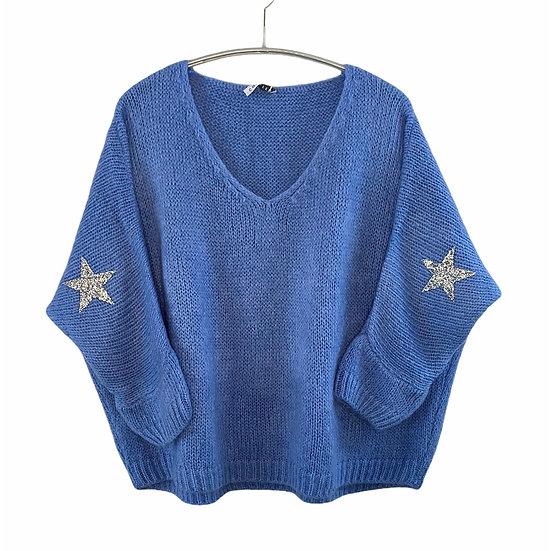 Cornflower Blue Mohair Mix Star Jumper