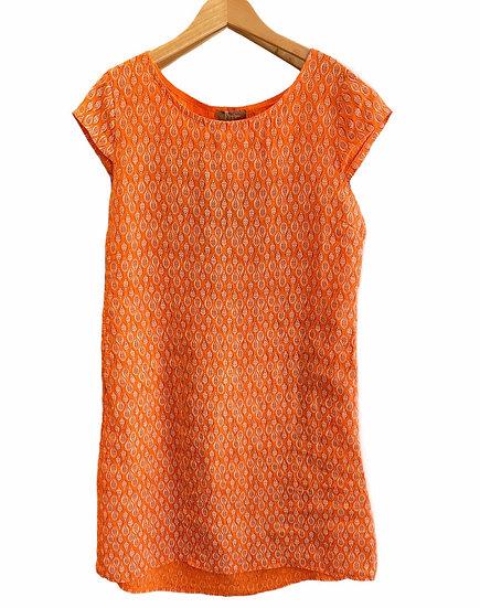 Italian Collection Orange Leaf Linen Dress