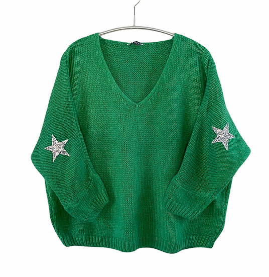 Green Mohair Mix Star Jumper