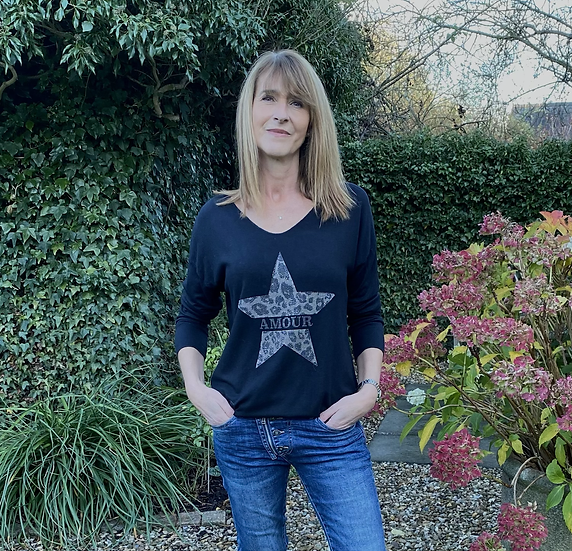 Amour Fine Knit Wool Star Top