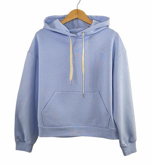 Pale Blue Luxe Hooded Sweatshirt