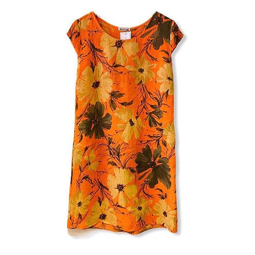 Italian Collection Linen Orange Floral Dress