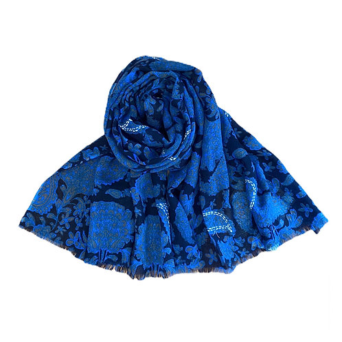 Ombré Blue Paisley Wool Embroidered Scarf