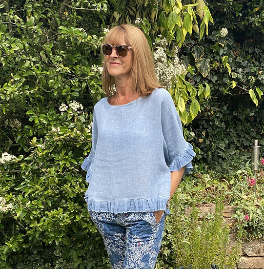 Italian Linen Blue Frill Top