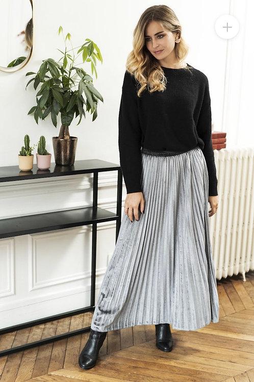 Anna Velvet Light Grey Pleated Skirt