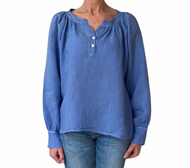 Italian Collection Cornflower Blue Linen Top