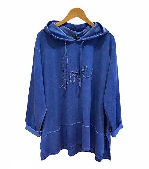 Italian Collection Blue Love Hooded Swing Sweatshirt