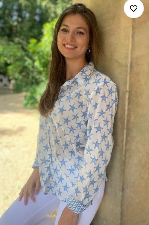 Luella Indian Cotton Blue Starfish Print Shirt