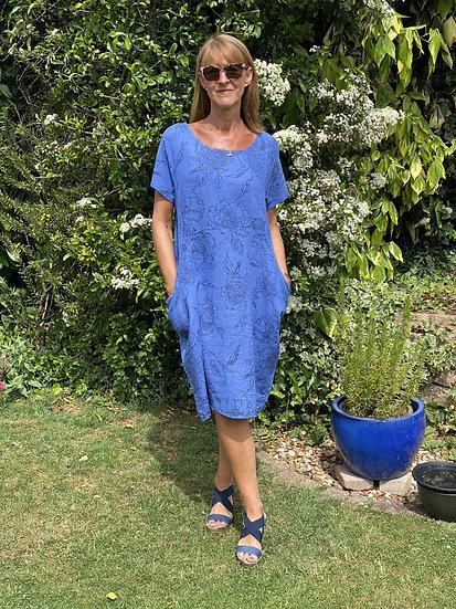 Italian Linen Cornflower Blue Dress