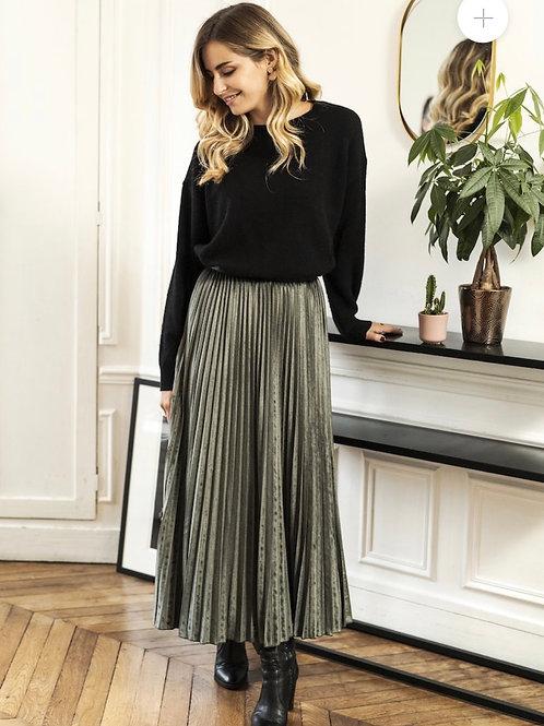 Anna Velvet Khaki Pleated Skirt