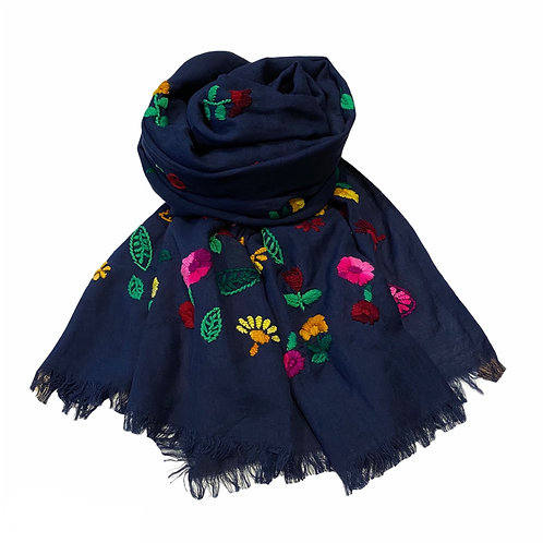 Ombré Embroidered Navy Wool Scarf