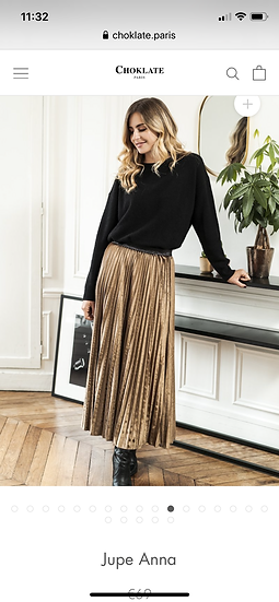 Anna Velvet Caramel Pleated Skirt