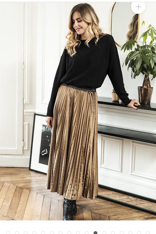 Anna Velvet Caramel Pleated Skirt