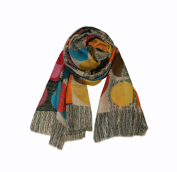 Kapre Abstract Multi Wool And Silk Scarf