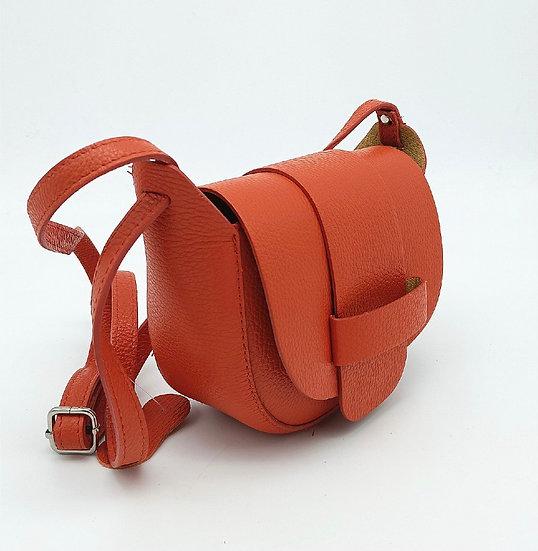 Orange Small Leather Crossbody Bag