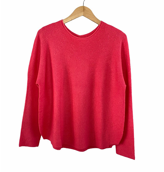 Raspberry Curved Hem Fine Jumper