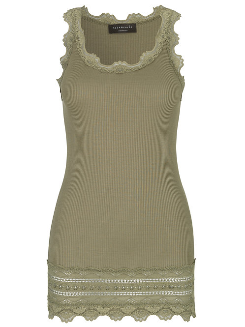 Rosemunde Burnt Olive Vintage Lace Long Tank