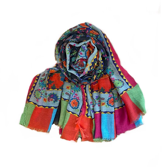 Ombré Floral Multi Wool Scarf