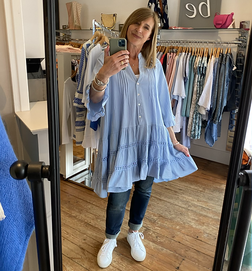 Aimee Blue Cotton Tunic
