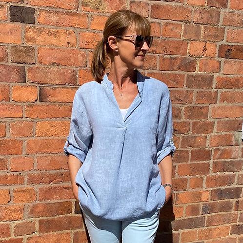 Italian Linen Sky Blue Collarless Shirt