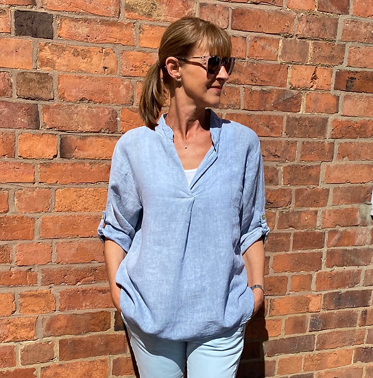 Italian Linen Sky Blue Collarless Shirt