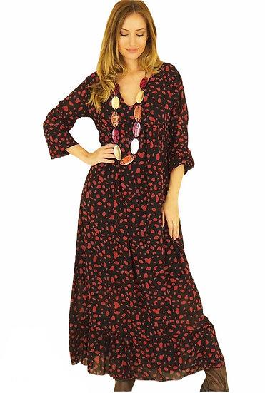 Parisian Style Floaty Red Maxi Dress