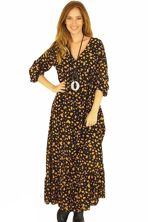 Parisian Style Floaty Ochre Maxi Dress
