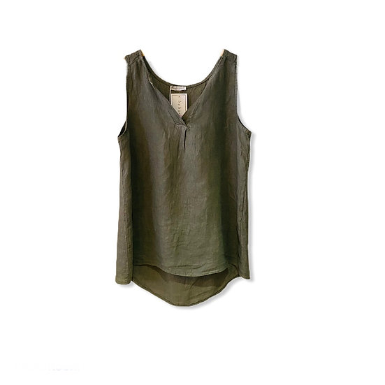 Italian Collection Khaki Sleeveless Top