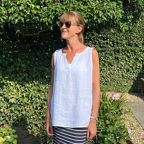 Italian Linen White Sleeveless Top