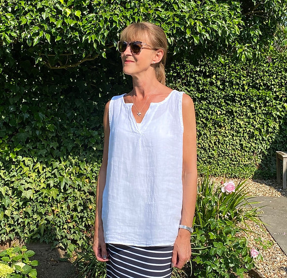 Italian Linen White Sleeveless Top