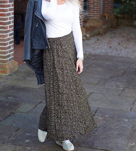 Khaki Animal Print Maxi Skirt