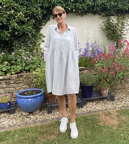 Italian Collection Grey Linen Shirt Dress