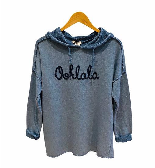 Italian Collection Oohlala Denim Blue Hooded Sweatshirt