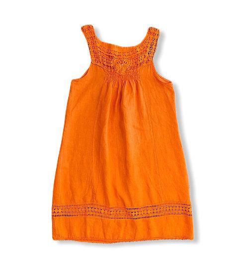 Italian Collection Linen Lace Bodice Orange Dress