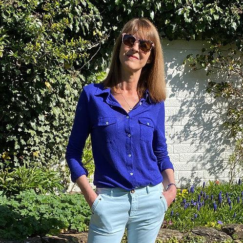 Hod Lavinia Jersey Linen Shirt In Royal