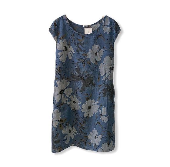 Italian Collection Denim Blue Linen Floral Dress