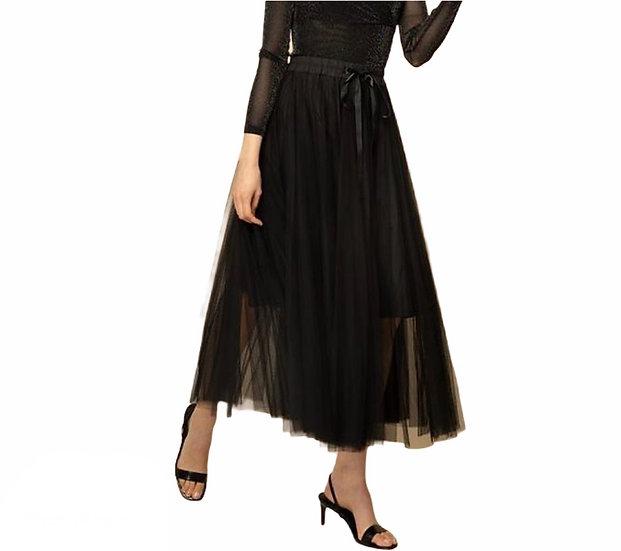 Parisian Style Tulle Black Maxi Skirt