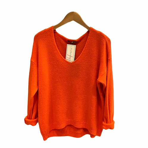 Parisian Style Orange Mohair Mix Jumper
