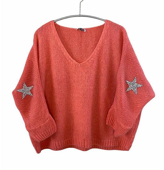 Coral Mohair Mix Star Jumper